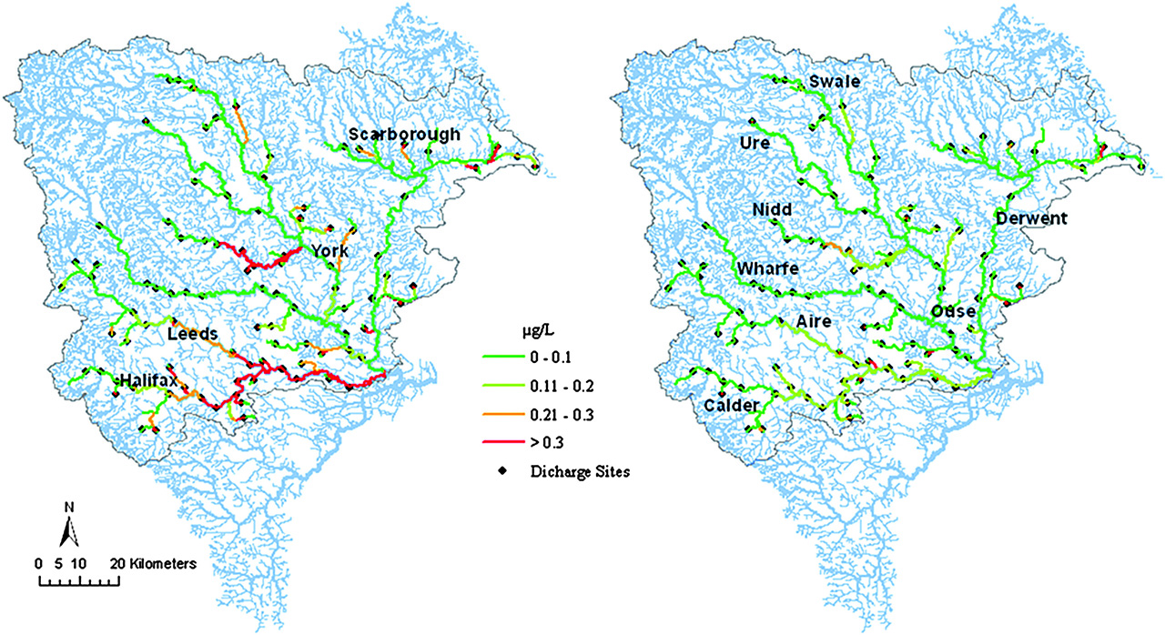 Distribution of predicted condom derivative concentrations (µg/L) across the Ouse and Derwent region of England: (a) annual average concentrations after applying a 50 % screening efficiency (map identifies the major urban centres); (b) annual average concentrations after applying a 80 % screening efficiency (map identifies the major catchment rivers).